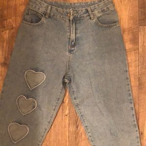 Denim - Cropped Ankle Mom Jean Heart Cut Out